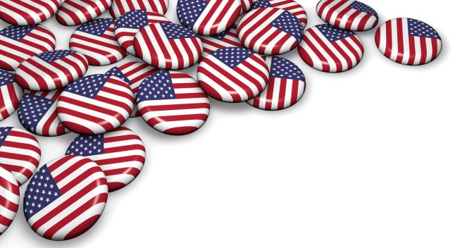 USA flag on badges on white background image for United States of America national events, holiday and celebration with copyspace.