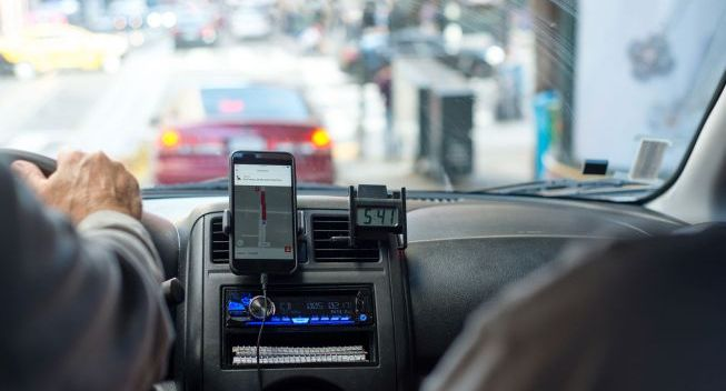 Inside An Uber In The City
