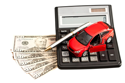 Toy car, money and calculator over white. Concept for buying, re