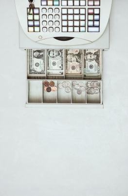 Money: Overhead View Of Cash Register And Open Drawer