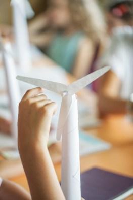 Students Making Paper Windmills