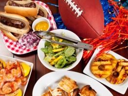 Tailgate Food: Overhead View of Food Including Pork Burger Slide