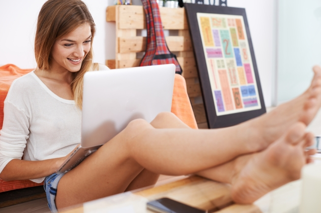 young woman surfing the internet