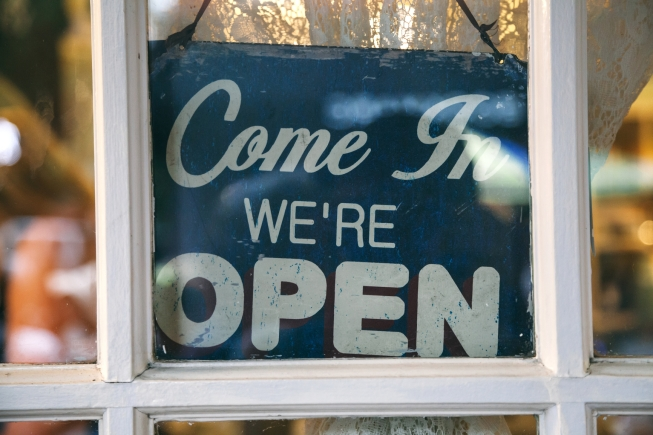 We're Open Sign