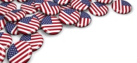 american flag buttons on table