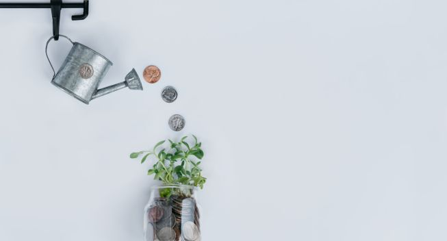 Watering Can Sprinkles Money On A Plant In A Jar Of Money