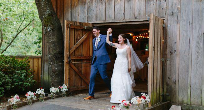 Bride And Groom Entering Reception