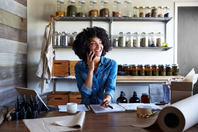 Portrait of woman in her artisan skincare studio and office
