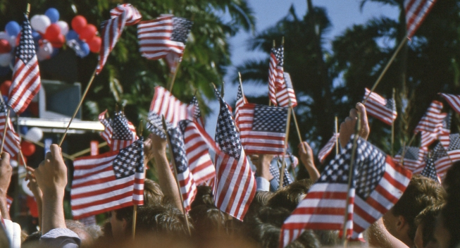 American flags waving