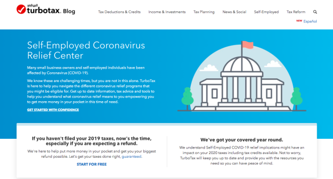 The TurboTax Self-Employed Coronavirus Relief Center helps self-employed individuals and small business owners navigate COVID-19 relief.