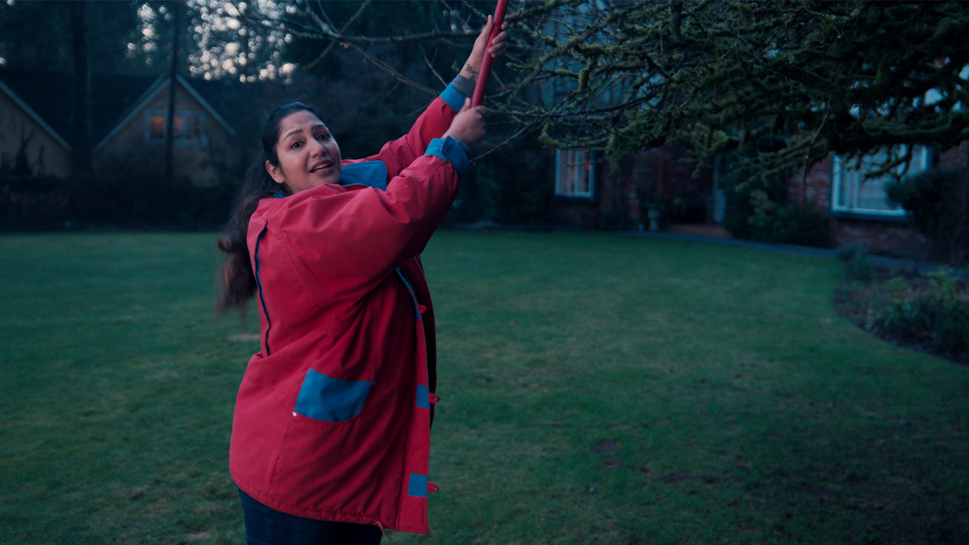 woman getting a kite down from a tree