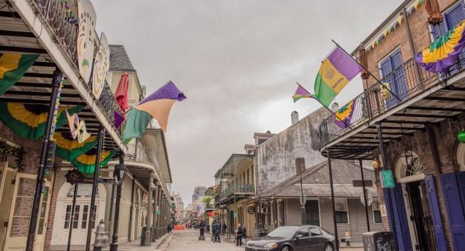bourbon street in winter